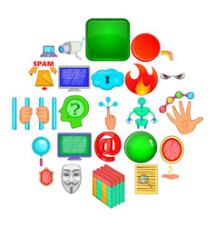 Cyber spying icons set cartoon style vector