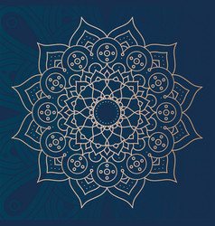 Decorative floral mandala with blue background vector