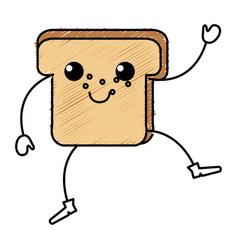 Delicious slices bread kawaii character vector