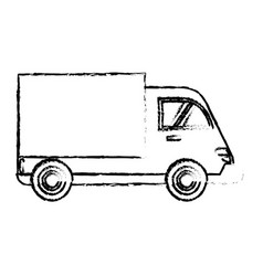 delivery truck cargo transport sketch vector image
