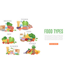 diets types nutririon food types product vector image