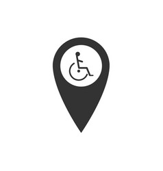 disabled handicap in map pointer icon isolated vector image