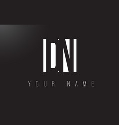 dn letter logo with black and white negative vector image