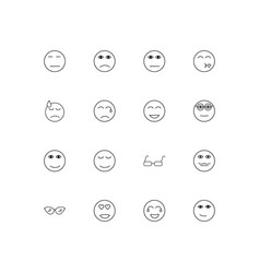 emoticons simple linear icons set outlined icons vector image