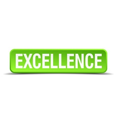 Excellence green 3d realistic square isolated vector