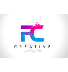 Fc f c letter logo with shattered broken blue vector