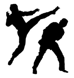 Fight between two taekwondo fighters silhouette vector