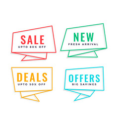 Four line origami style sale banner vector