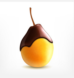 fresh pear with chocolate vector image