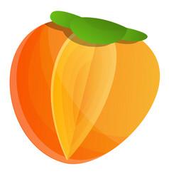 Fresh persimmon icon cartoon style vector