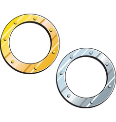 Gold and silver rings vector