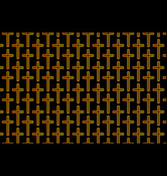 Golden cross on black background vector