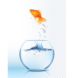 Golden fish jumping out bowl poster vector
