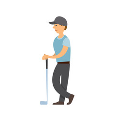 golf player man with stick playing game poster vector image