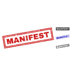 Grunge manifest textured rectangle stamps vector