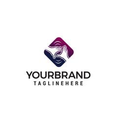 hand care logo design concept template vector image