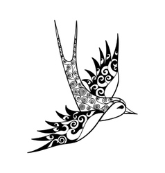 Hand drawn tribal Swallow bird totem for adult vector