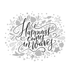 Happiness cpmes in waves lettering card vector