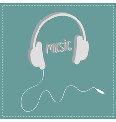 headphones with cord and word music isometric icon vector image