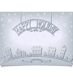 Holiday postcard with silver signboard greeting vector