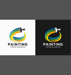 House painting logo design template vector