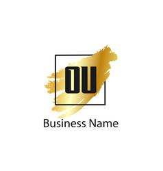 initial letter ou logo template design vector image