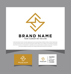 Initials sm logo with a business card vector