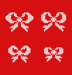 knitted christmas bows vector image