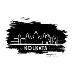 Kolkata india city skyline silhouette hand drawn vector