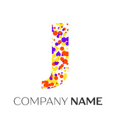 letter j logo with purple yellow red particles vector image