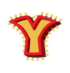 Letter y lamp glowing font vintage light bulb vector