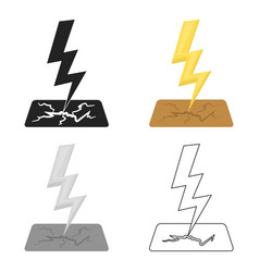 lightning bolt icon in cartoon style isolated on vector image