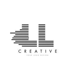 Ll l zebra letter logo design with black and vector