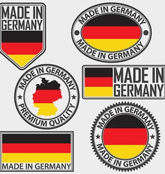 Made in germany label set with flag vector