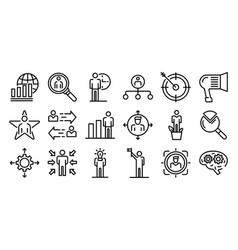 Managing skills icons set outline style vector