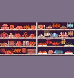 meat and fish products at shop or store stall vector image