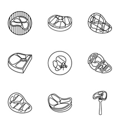 Meat icons set outline style vector image