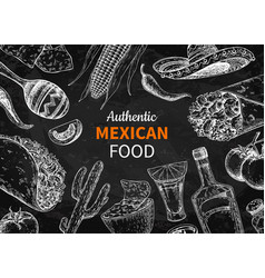 Mexican food and drink sketch tequila shot vector