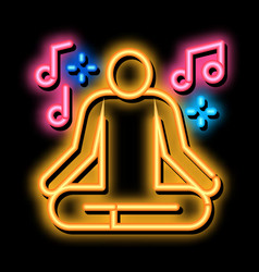 Musical man relaxation neon glow icon vector