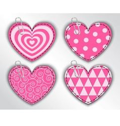 paper hearts with different patterns vector image