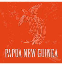 Papua new guinea paradise bird retro styled image vector