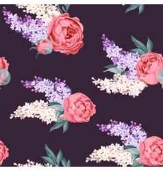Peony and lilac seamless vector