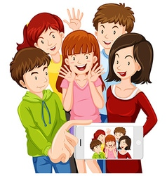 People taking selfie with mobile phone vector image
