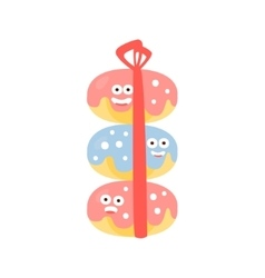 Pile of three doughnuts with ribbon children vector