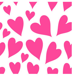 Pink hearts seamless patter vector