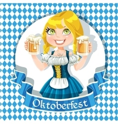 Pretty Blond girl with a glass of beer celebrating vector image