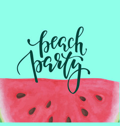 print with slice watermelon inscription vector image