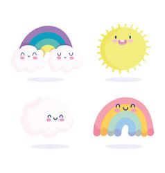rainbows clouds sun spring season nature cartoon vector image