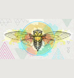 realistic cicada on artistic watercolor background vector image