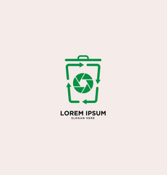 Recycle trash camera and leaf simple line logo vector